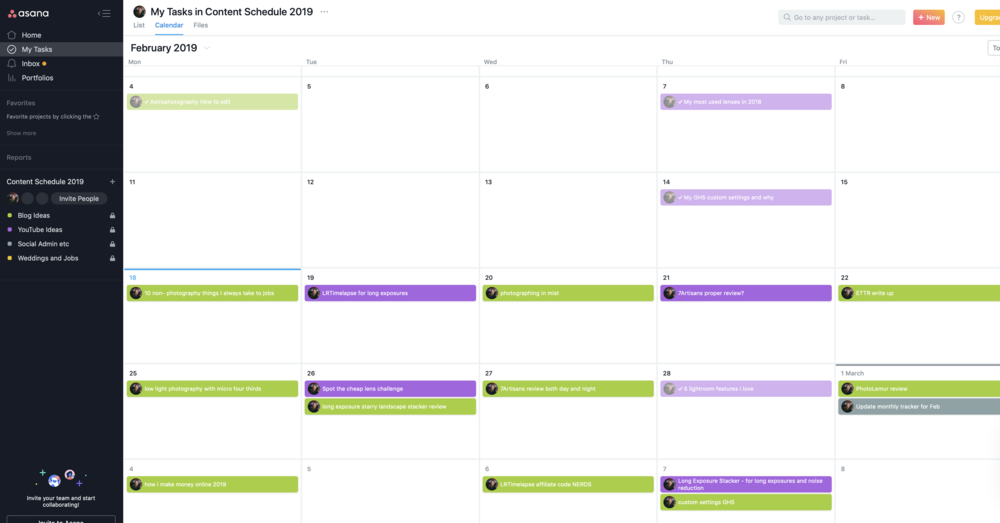 Green are blog posts, purple is youtube. The greyed out ones are the ones I've completed. That's my favourite colour.