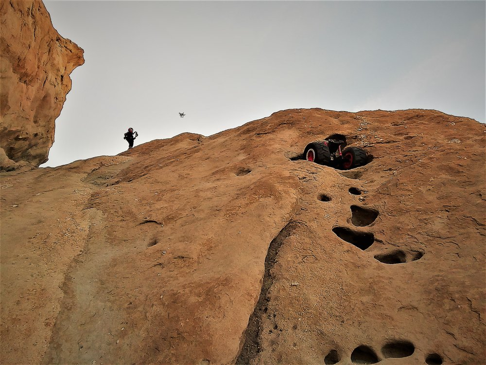 ANalog AStronaut conducting a geological EVA, GEVA, using the drone and autonomous rover at Vasquez Rocks, CA