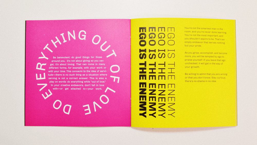 Page spread from my printed 'culture doc,'  PRINCIPLES 018 .