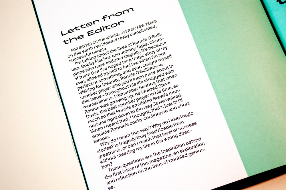 Letter from the Editor, for the first issue of  Diego Segura Magazine .