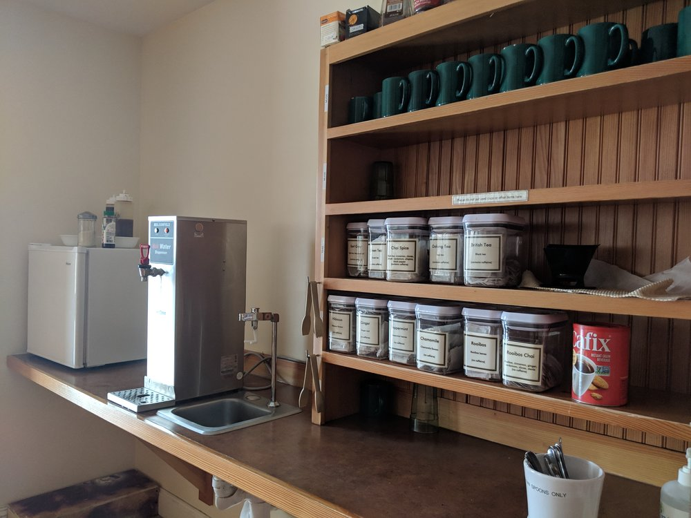 One of two tea stations.