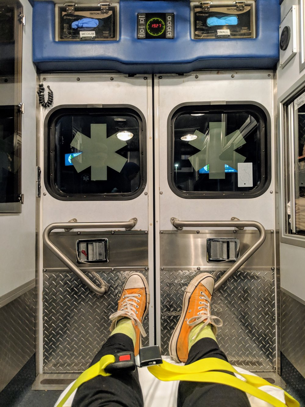 I am that person who takes a picture in an ambulance. Anxiety makes me do weird things, like nervously ask my EMTs about their personal lives. They were really sweet, btw.
