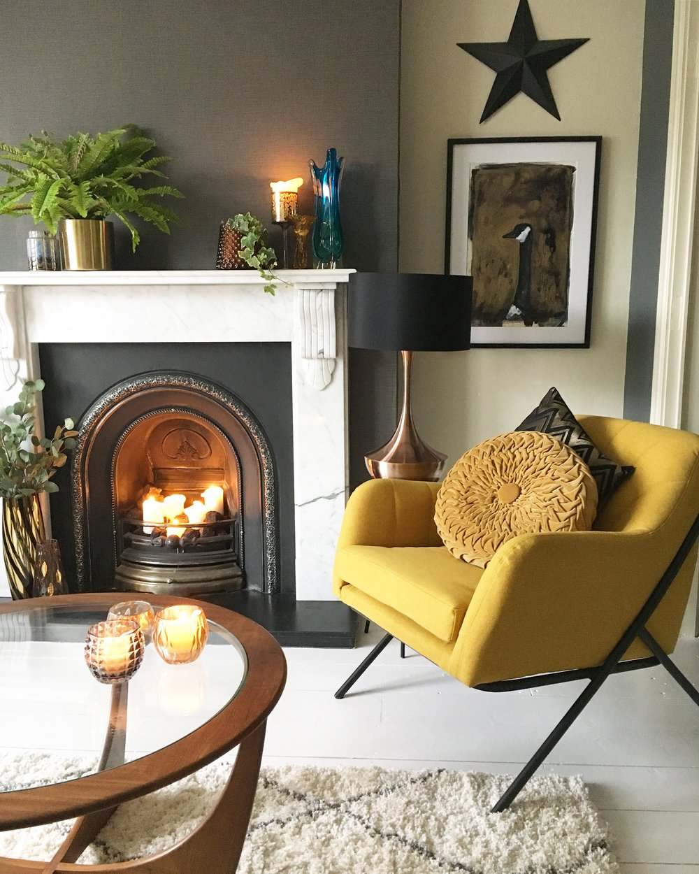 golden goose living room vintage art