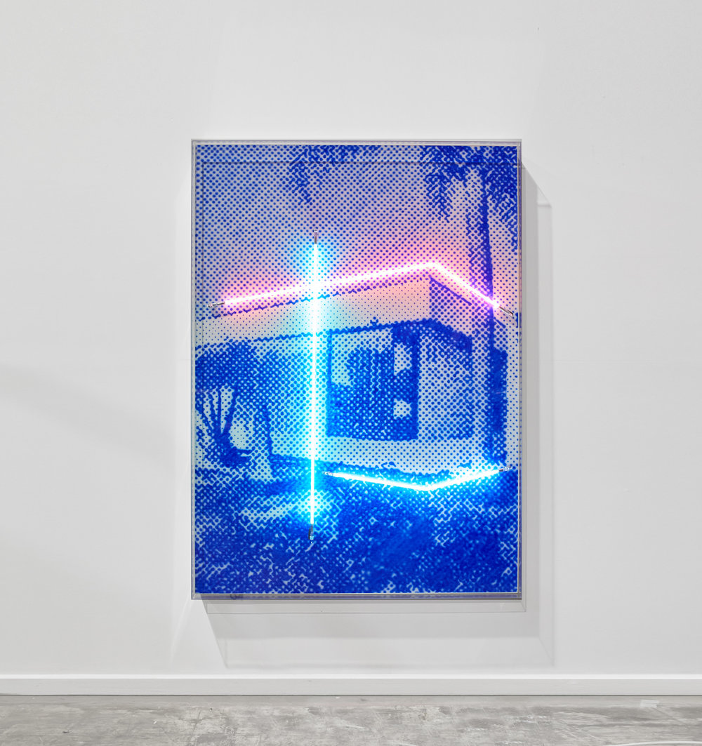 North facing with palms in the front  Airbrush acrylic polymer and neon on dibond, acrylic frame 115x160cm