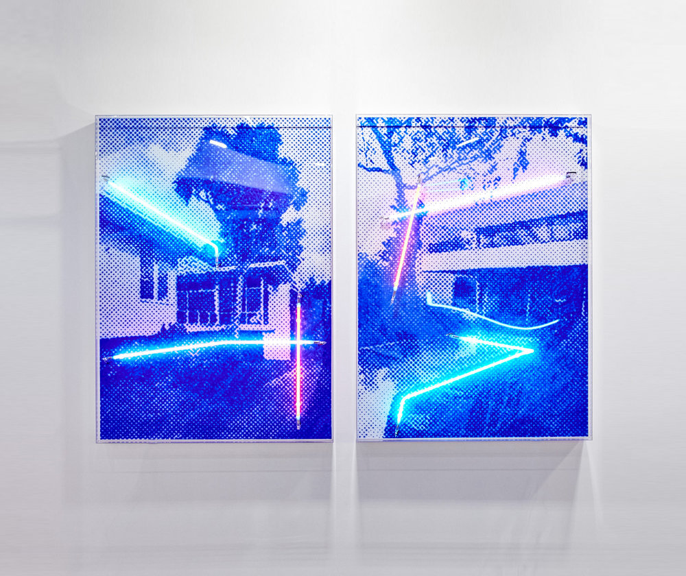 Situated in a green leafy street (left) / Superbly positioned in a beautiful tree lined street (right)  Airbrush acrylic polymer and neon on dibond, acrylic frame 90x125cm each