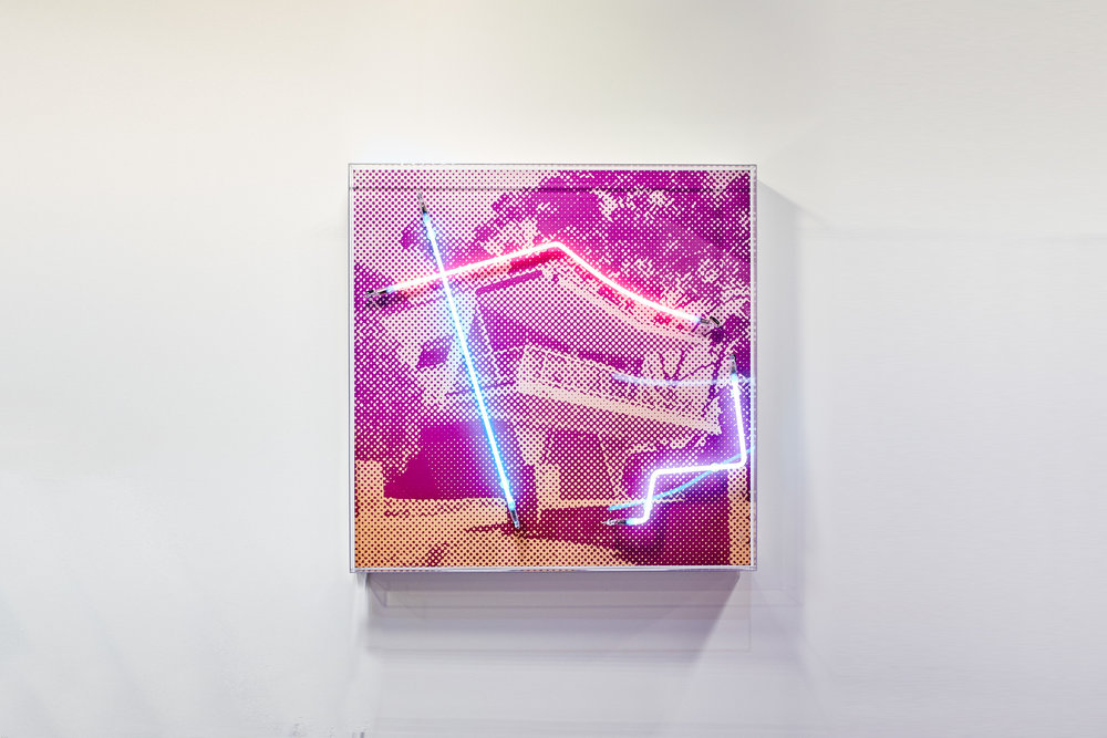 270 Degree sea views (edition of 8)  Silk screen and neon on dibond, acrylic frame 80x80cm