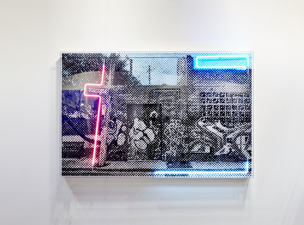 Gwynne street  Airbrush acrylic polymer and neon on dibond, acrylic frame 110x170cm