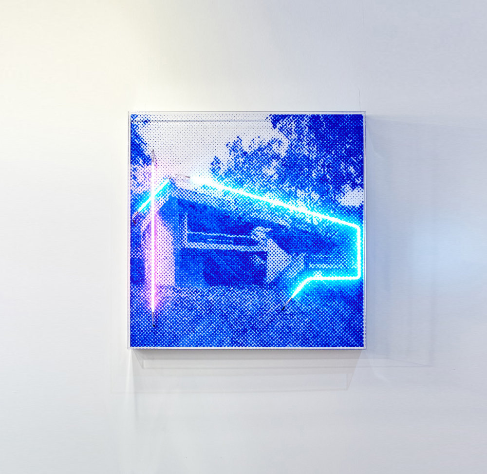 Killara house  Airbrush acrylic polymer and neon on dibond, acrylic frame 110x110cm