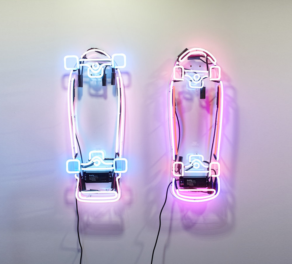 Roskopp (left) / Hawk (right) - Edition of 10  Neon skateboard on laser cut and engraved acrylic 35x82cm