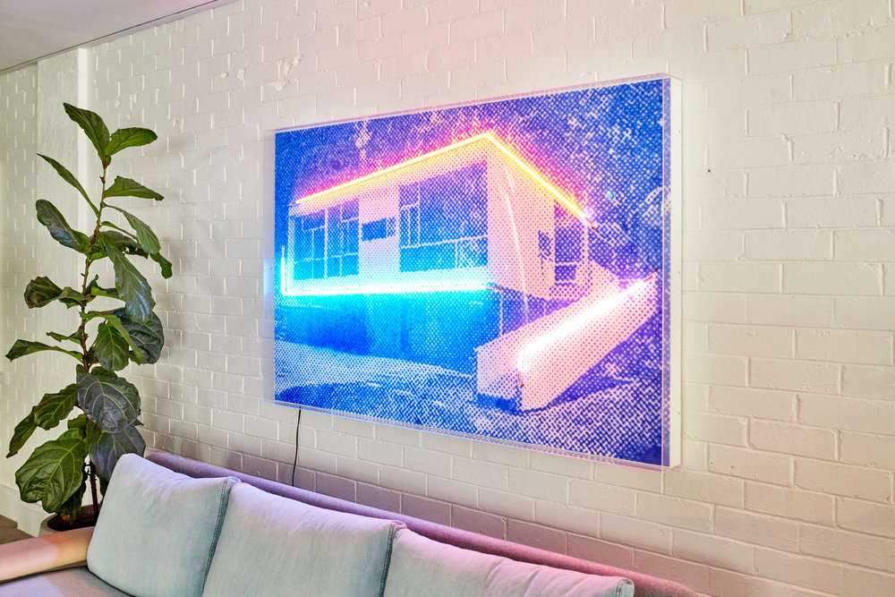 Electric Rose, 2018  Airbrush acrylic polymer and neon on dibond, acrylic frame 110x170cm