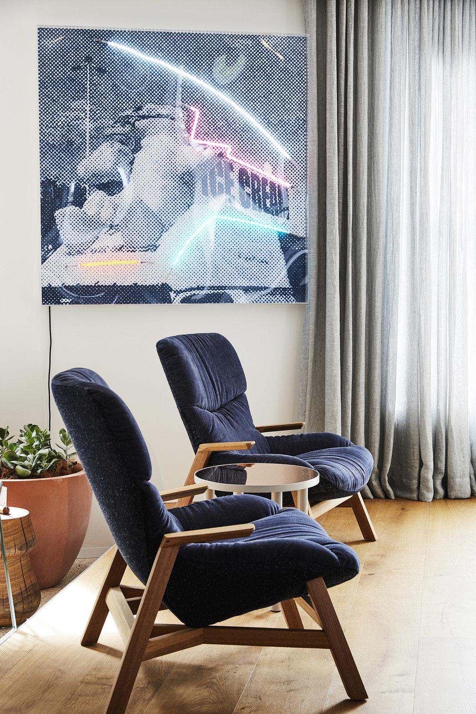 Polar Cones, 2017  Airbrush acrylic polymer and neon on dibond, acrylic frame 110x170cm