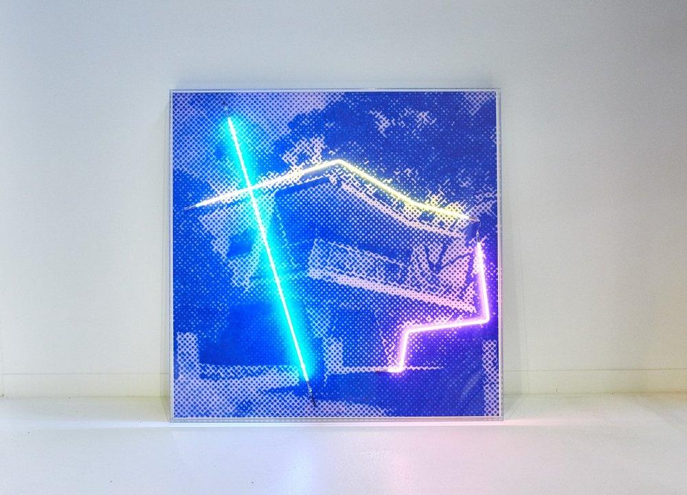Butterfly House, 2018  Airbrush acrylic polymer and neon on dibond, acrylic frame 130x130cm