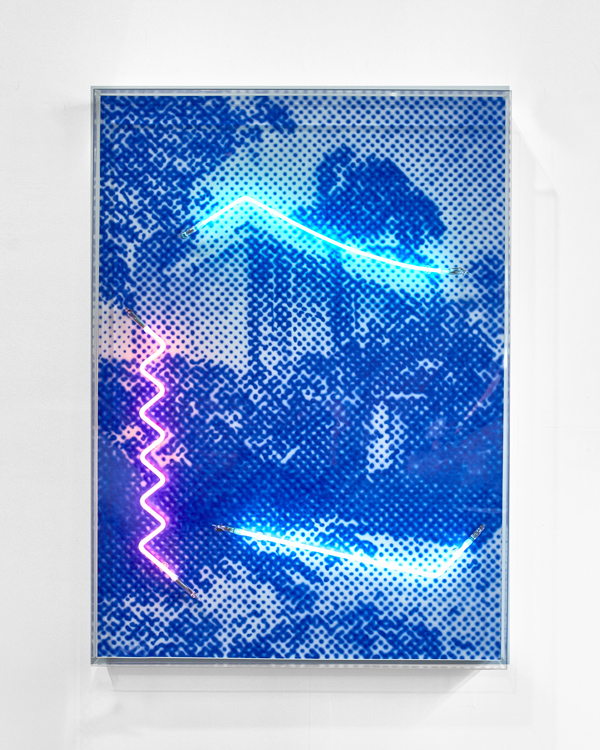 A townhouse flooded with northern sunshine, 2018  Airbrush acrylic polymer and neon on dibond, acrylic frame 90x125cm