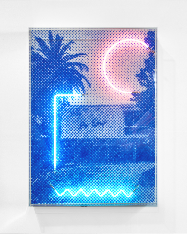 Truly croons a Hollywood glamour pad  Airbrush acrylic polymer and neon on dibond, acrylic frame 90x125cm