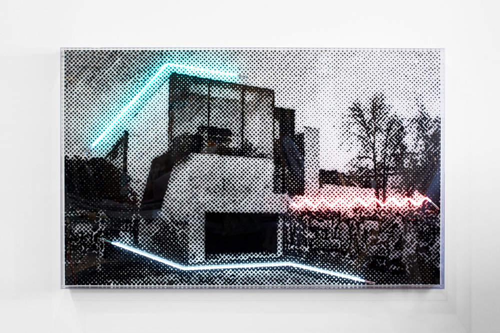 A house in an unforgiving laneway context, 2018  Airbrush acrylic polymer and neon on dibond, acrylic frame 125x200cm