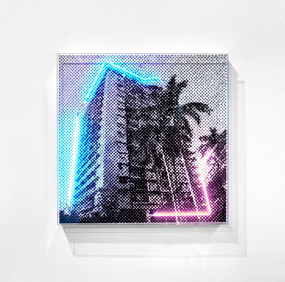 Centrepoint, 2018 (Private commission)  Airbrush acrylic polymer and neon on dibond, acrylic frame 125x125cm
