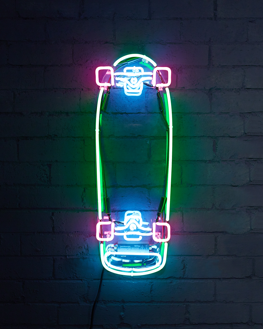 Brite lite, 2016 (edition of 10)  Neon skateboard on laser cut and engraved acrylic 28x82cm