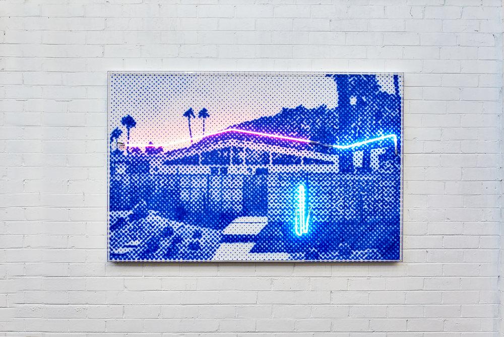 Desert Los Vista  Airbrush acrylic polymer and neon on dibond, acrylic frame 120x180cm