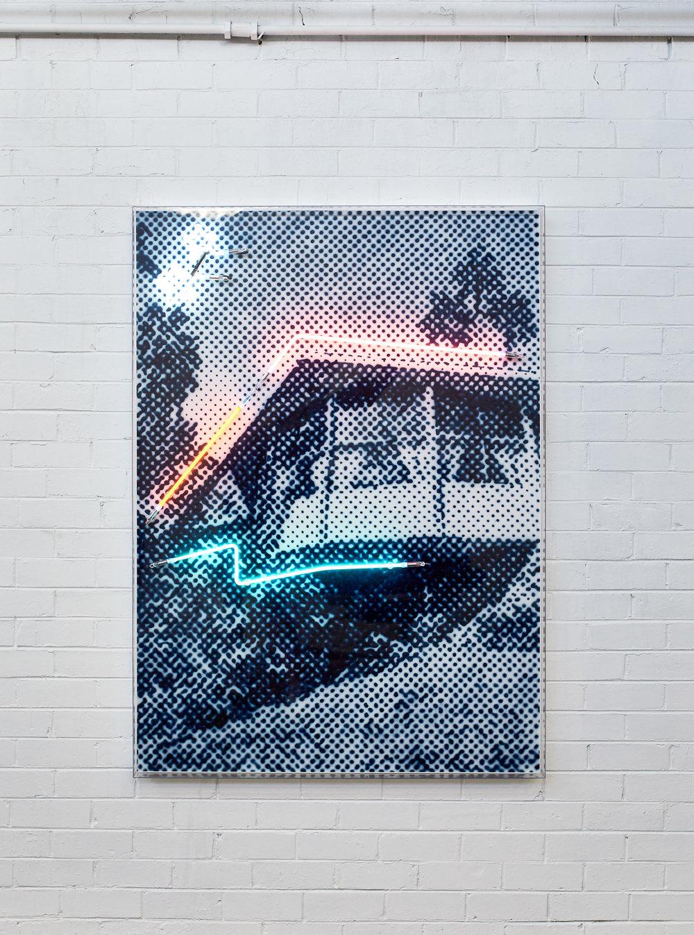 House of tomorrow  Airbrush acrylic polymer and neon on dibond, acrylic frame 115x160cm