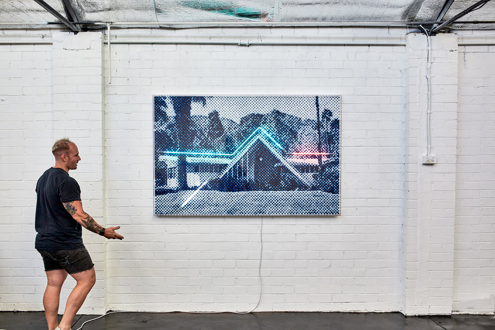 Swiss Miss  Airbrush acrylic polymer and neon on dibond, acrylic frame 120x180cm