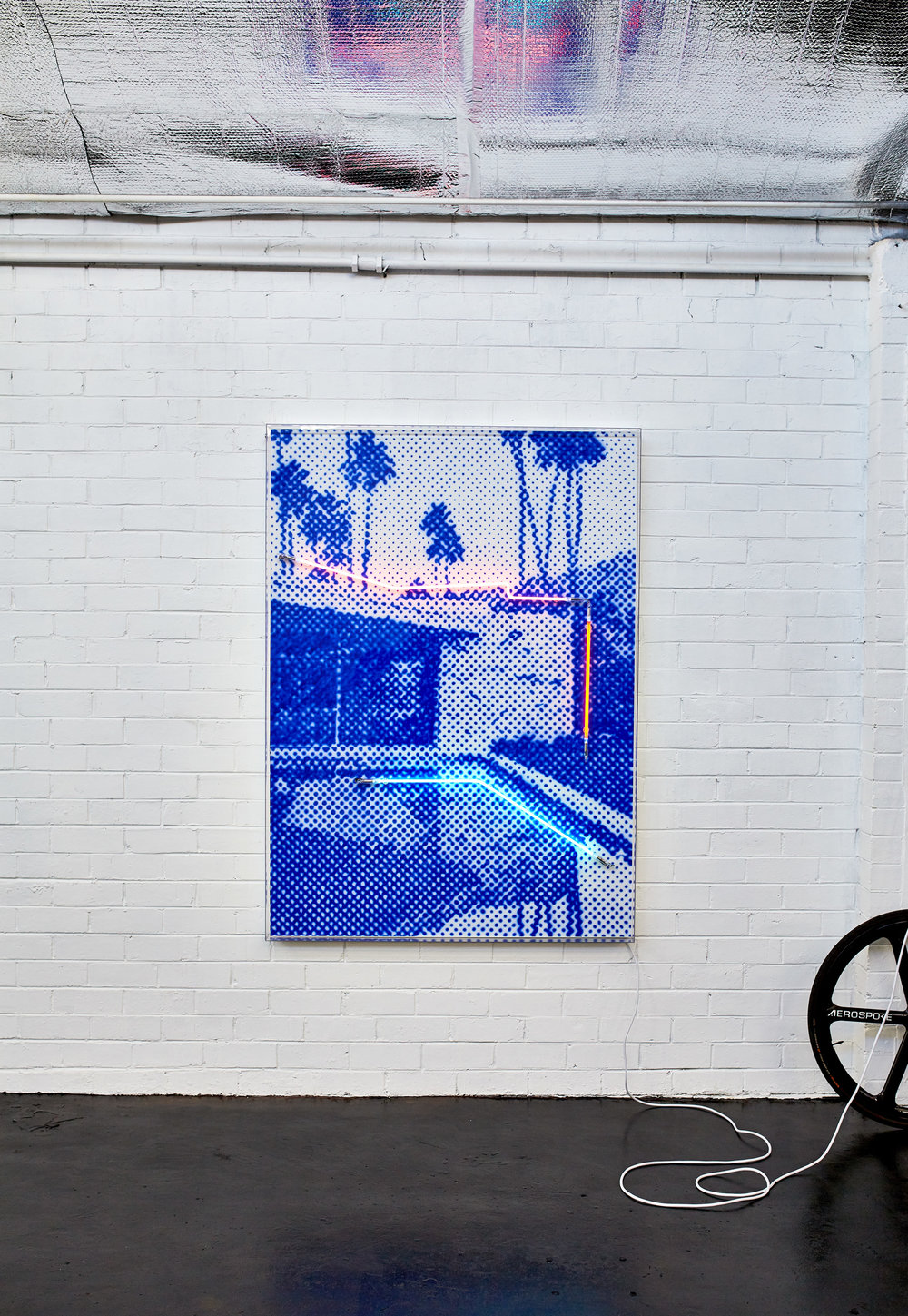 Private Oasis  Airbrush acrylic polymer and neon on dibond, acrylic frame 115x160cm