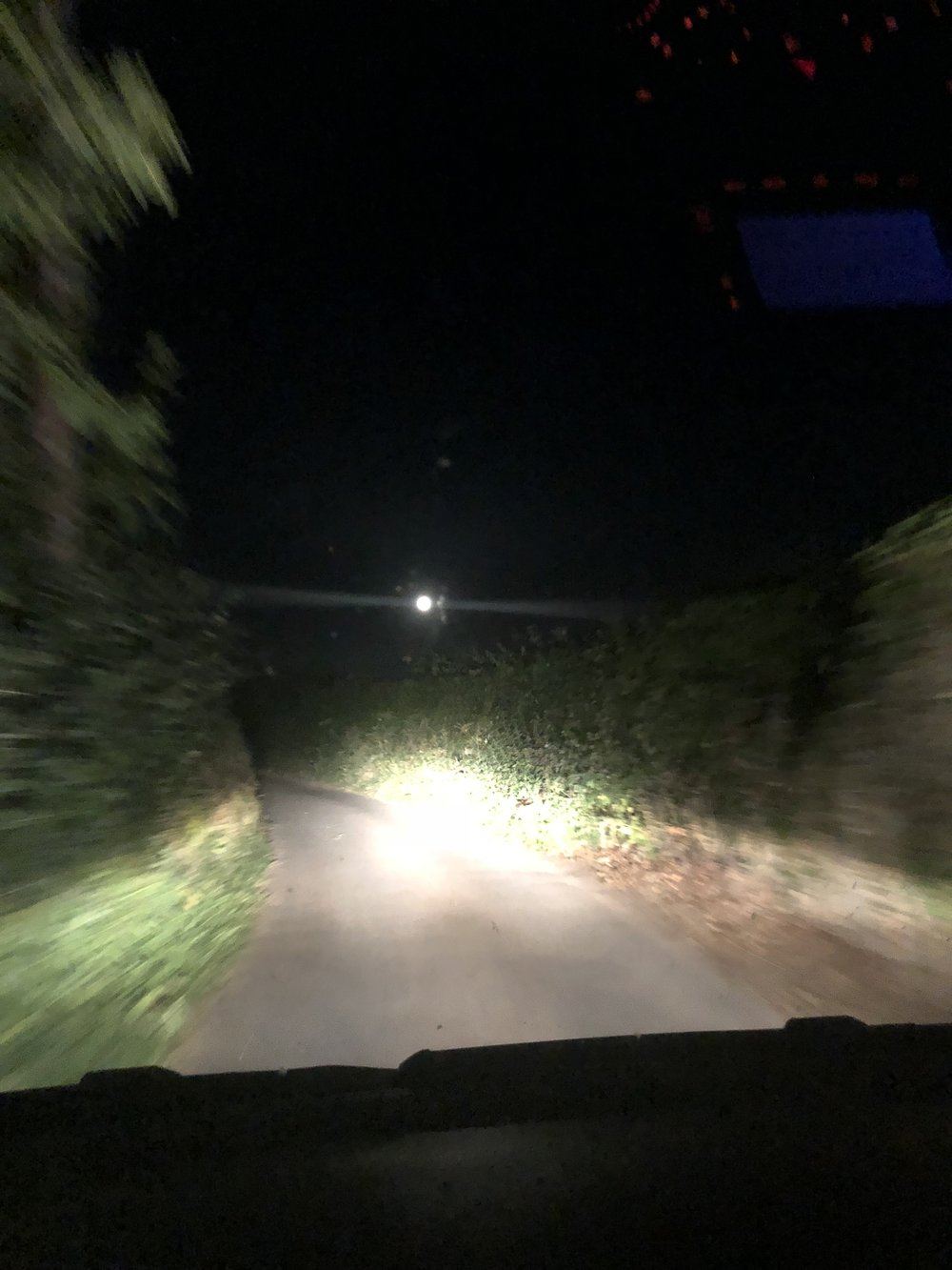 Trying to navigate tiny country roads late at night. At least we got to enjoy the beautiful full moon.