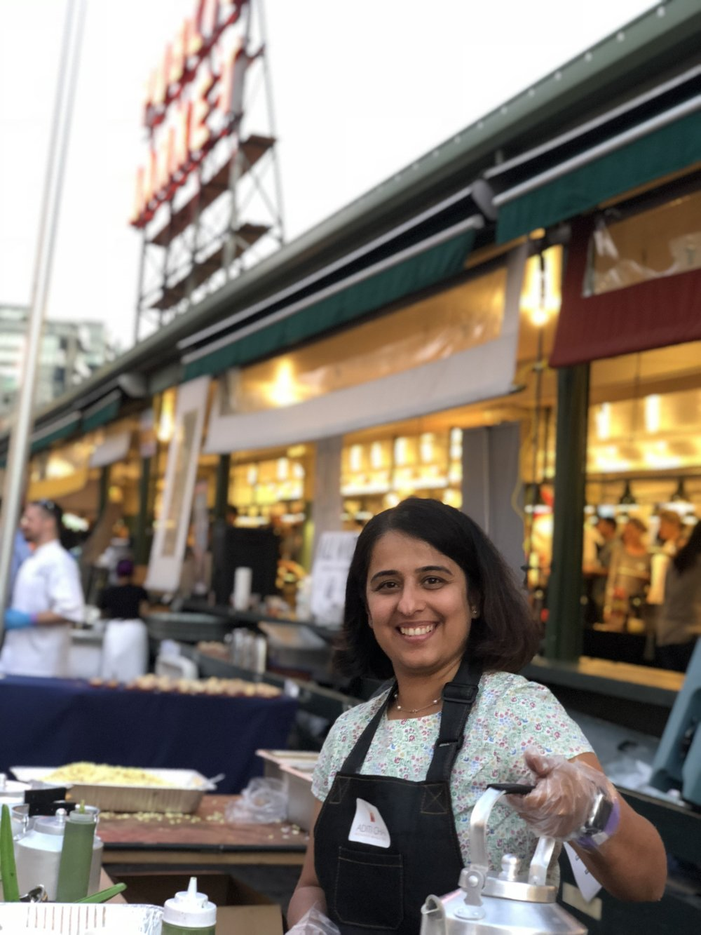 Aditi Master launches Aditi Chai at Pike Place Market Sunset Supper!! - Chai, garam Chai at Pike Place Market!