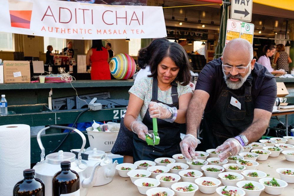 Aditi Master prepares Bhel Puri at Pike Place Market Sunset Supper.JPG