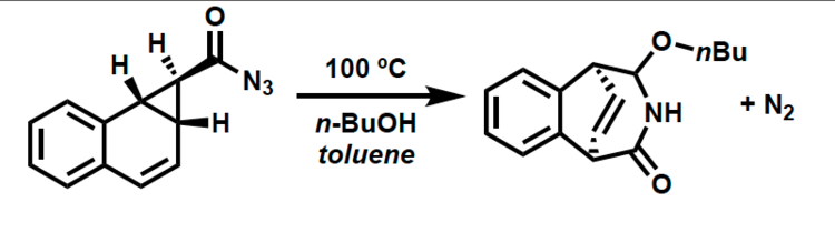 In a classic thermal transformation the acyl azide above was heated in the presence of butanol to afford a 1:1 mixture of diastereomers. Later studies determined that the enantiomerically pure starting material above provides each diastereomer enatiomerically pure. Please provide a mechanism for this transformation while paying attention to the stereochemistry.