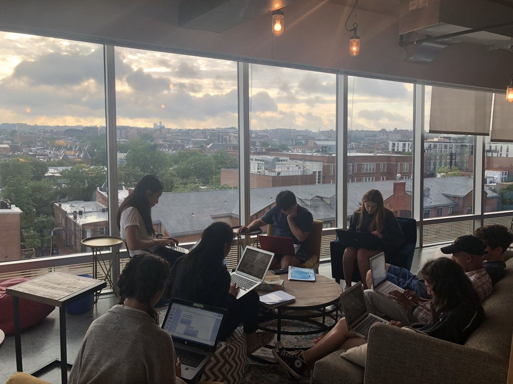 2018 fellows working on the storylining skills lab.