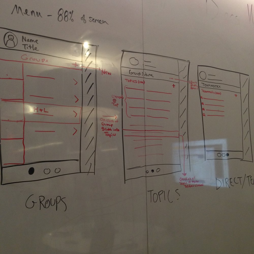 Whiteboarding initial concepts. Photo by my design partner, Sam Provenza