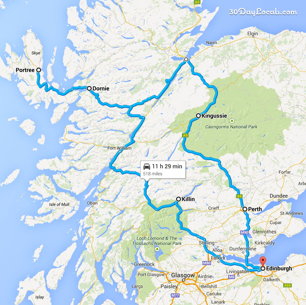 Driving Tour of Scotland Map