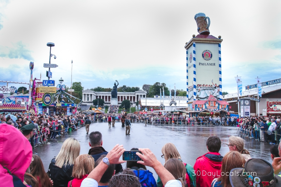 The opening parade at Oktoberfest. Each beer company has a horse-drawn cart carrying beer kegs through the parade route. The drinking festivities cannot begin until the mayor taps the first keg at Noon on day one.