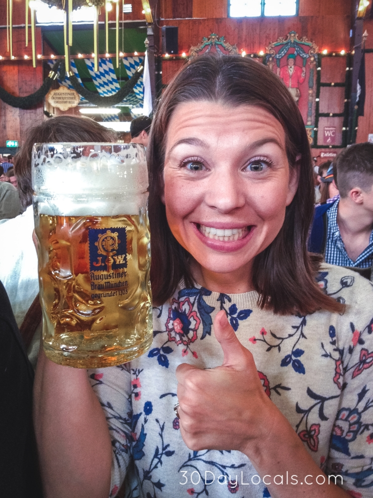 SOOO excited to be sitting at a table in the Augustiner tent drinking my first beer at Oktoberfest!!!