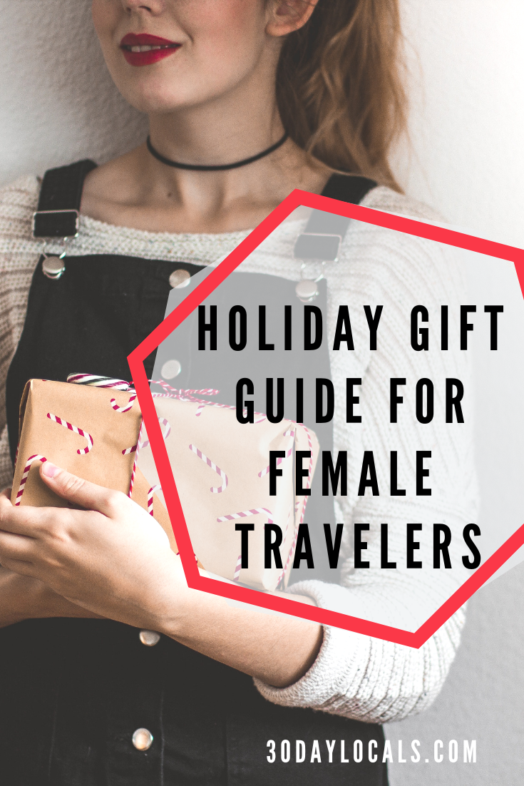 Holiday gift guide for female travelers. Help her enjoy seeing the world more with these awesome gifts. #holidaygifts #holiday #christmasgift #giftidea #giftguide