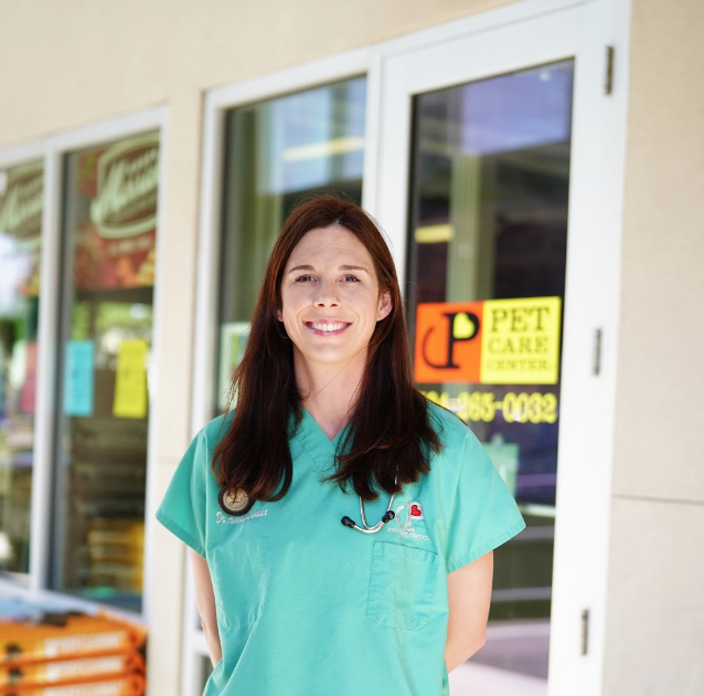 Dr. Amelie Lanaux   Dr. Amelie Lanaux was born and raised in New Orleans and graduated from St. Mary's Dominican High School. She attended Louisiana State University for seven years, earning her Bachelor's degree in Animal Science and her Doctor of Veterinary Medicine.