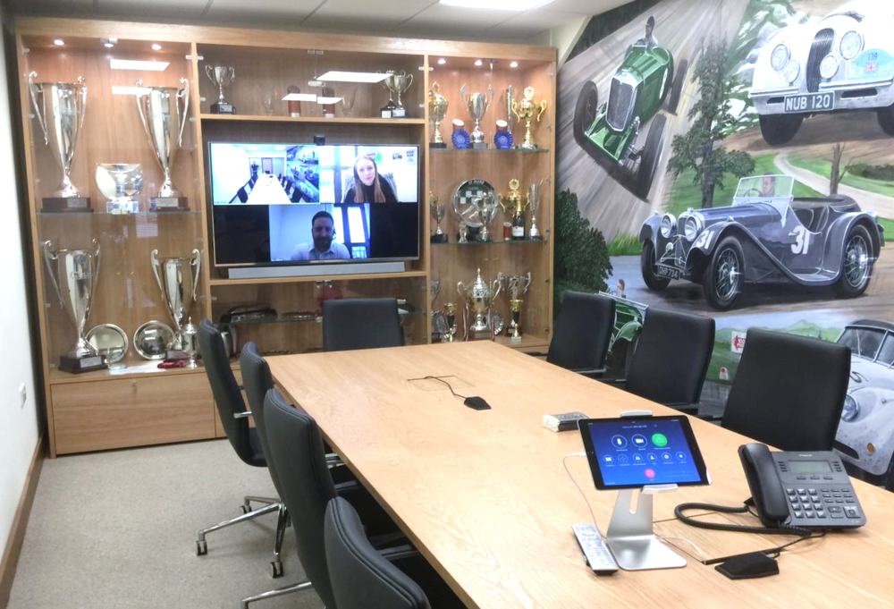 Classic car firm's boardroom Zoom Room