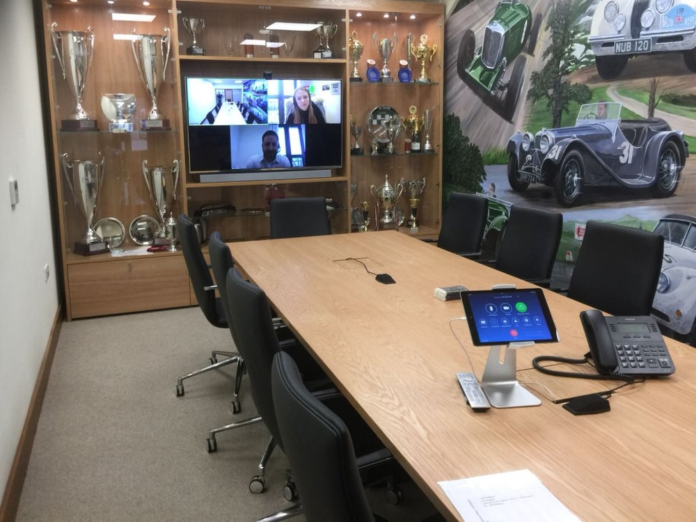 JD Classics - A boardroom Zoom Room for a classic car company in Essex.