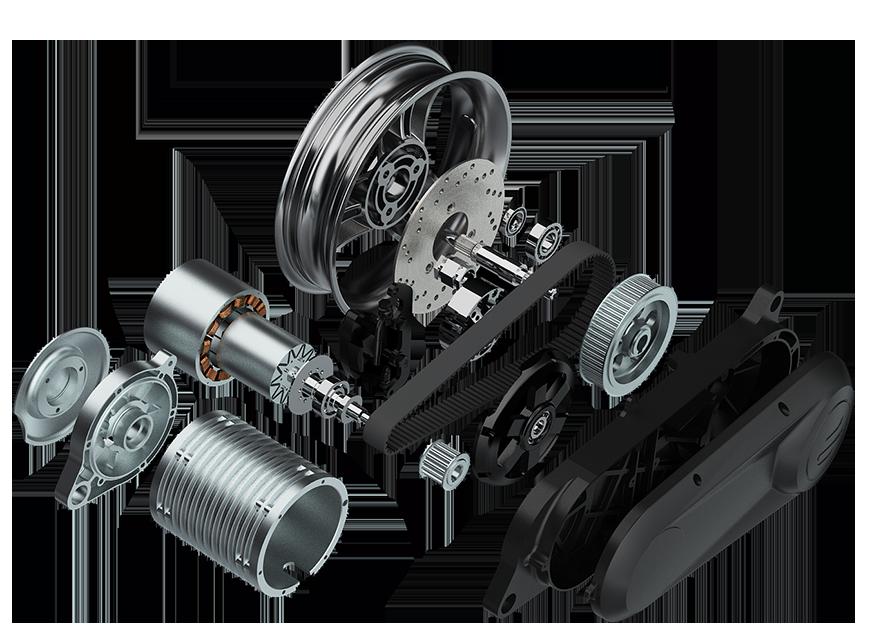 Der Carbon Antrieb - Der Antriebsriemen aus Kohlefaser-Verbundwerkstoff von Gates bieten einzigartige Vorteile, um das Motordrehmoment zu nutzen. Kein anderer Motorroller auf dem Markt, kann diese Art von direkter Leistung anbieten.