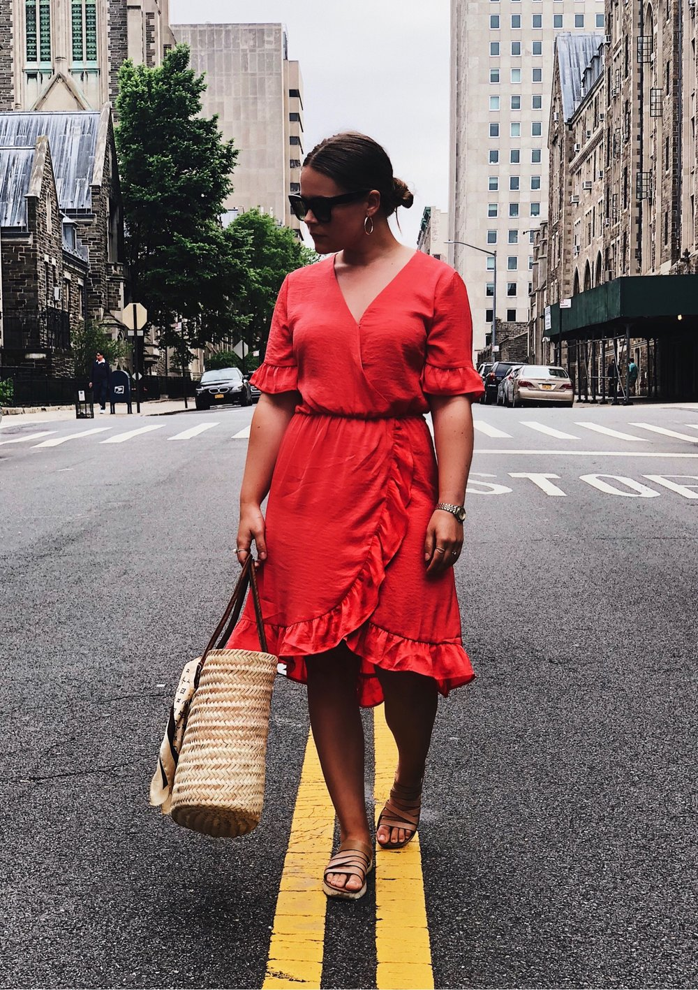 My favorite summer dress. - Add an oversized straw bag with a cute silk scarf tied around the handle, and a pair of flat neutral sandals or espadrillos for a casual look.