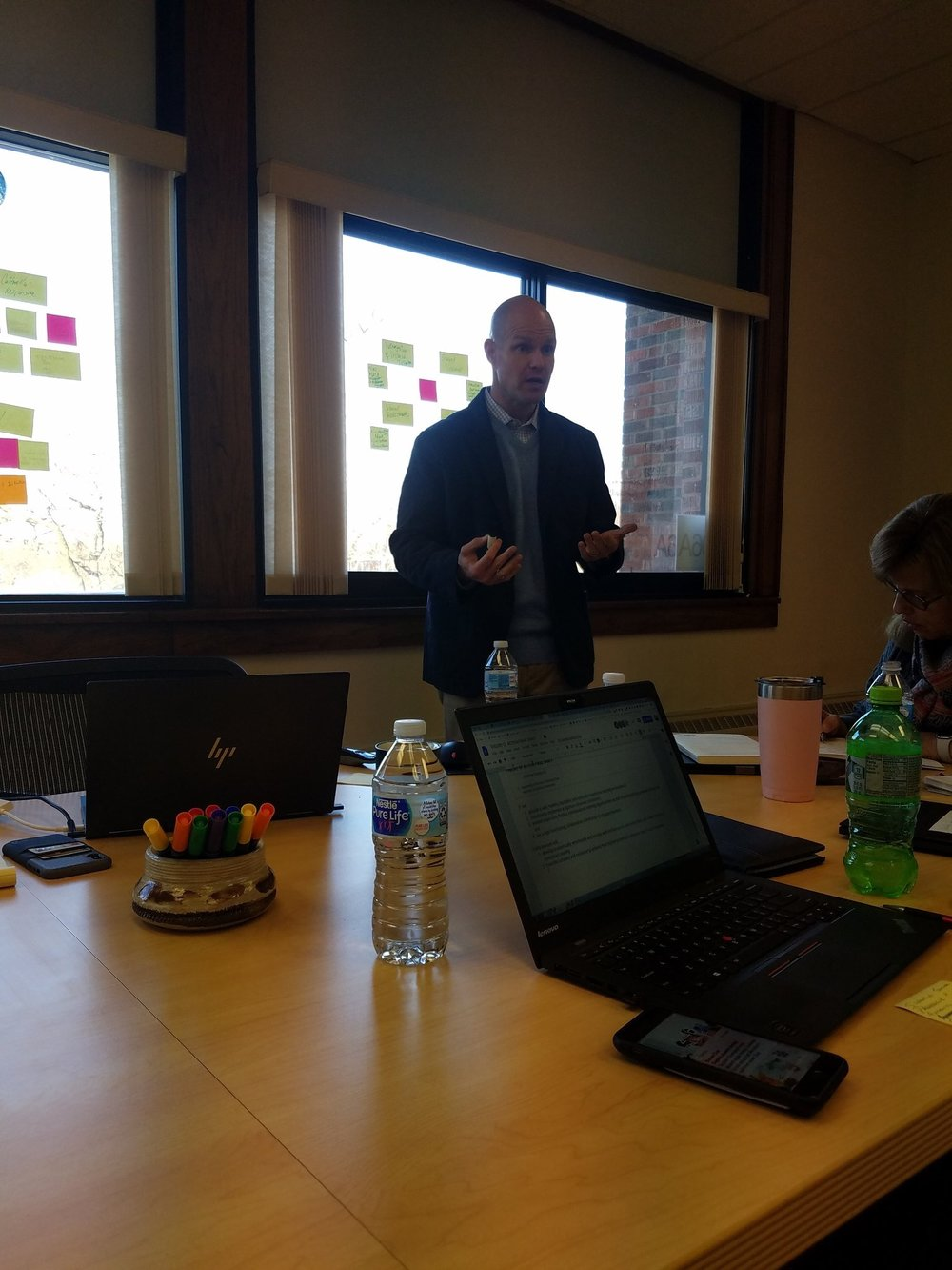 Strategy Officer Jason Bletzinger brainstorms big ideas with the Sparta team during their recent instructional model strategy session.