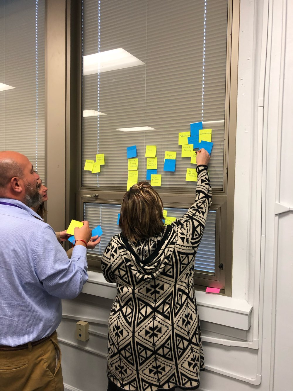 Jena Cooper and Erik Barbon engage in an Affinity Mapping activity to flush out their major components and big ideas from the prompt responses.