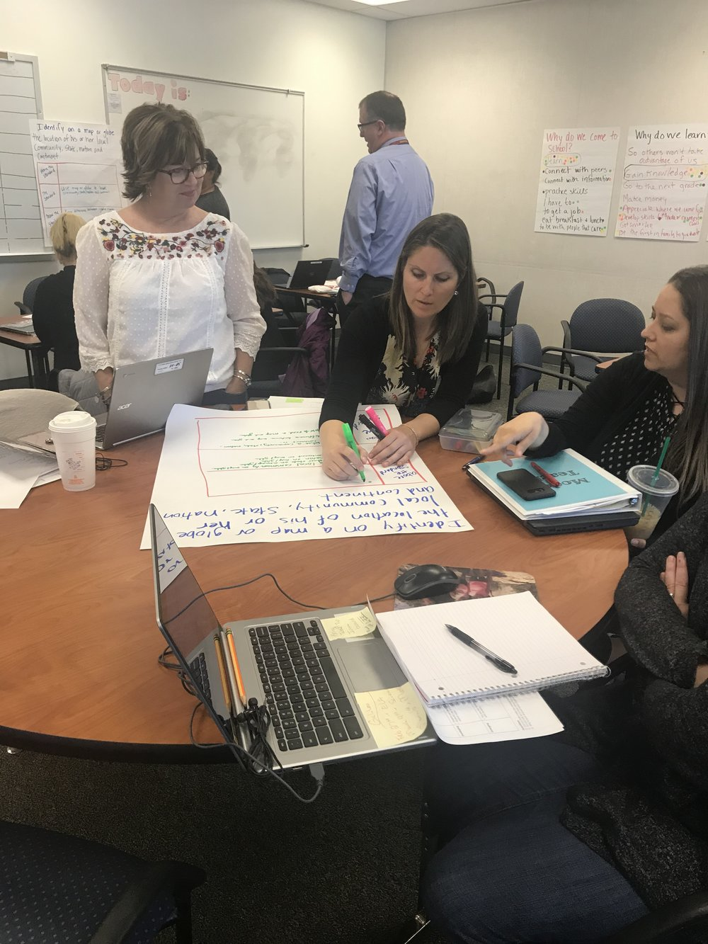 Principals, coaches, and teachers prepare to unpack standards with students