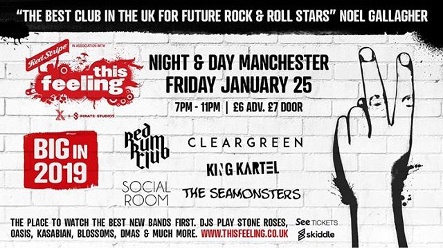 ABSOLUTELY MADE UP TO ANNOUNCE WE'RE PART OF @thisfeelinghq 'BIG IN 2019'! WE PLAY @nightanddaycafe JAN 25TH. WE WILL ALSO BE FEATURED ON THEIR 'BIG IN 2019' LP RELEASED THROUGH @bloodrecs AND @flying_vinyl . @redstripeuk @piratestudios  TICKETS: www.thisfeeling.co.uk BIG IN 2019 LP: www.blood-records.co.uk/current-release/