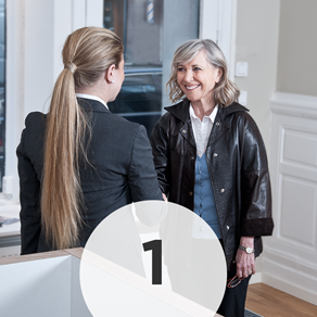 Step 1: - When you arrive at our office, you will be greeted by our friendly office staff. If you did not complete your patient forms prior to your visit, you will be asked to fill out those forms. Print and complete forms here.