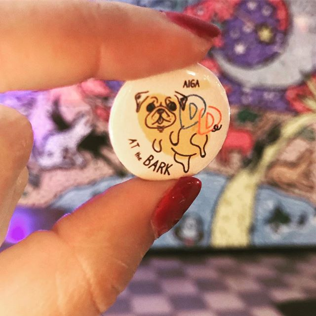 Thanks again to @aigatallahassee for inviting us to make the event cover and this pugtato pin for last week's Designer Drinks at The Bark! ✨ We had fun making them. 🤗