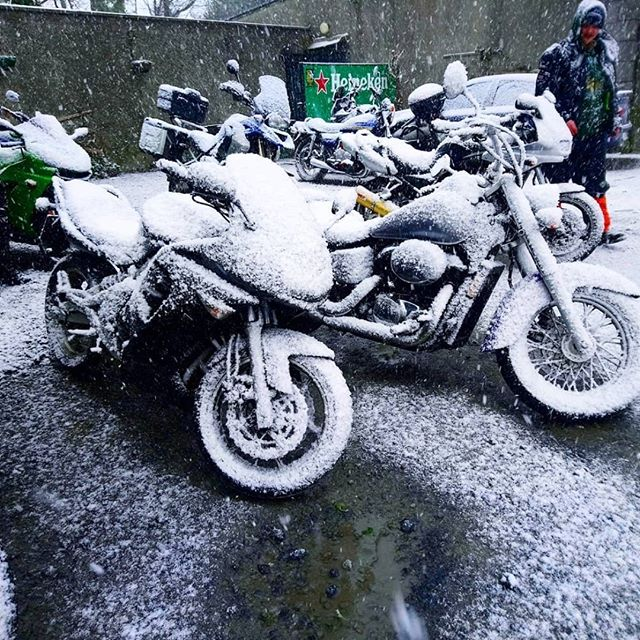 Bit frosty out there! Kawasaki ER-6F and Honda Shadow VT 750 Ace covered in snow at the Fish Dick Rally a couple of weeks ago!