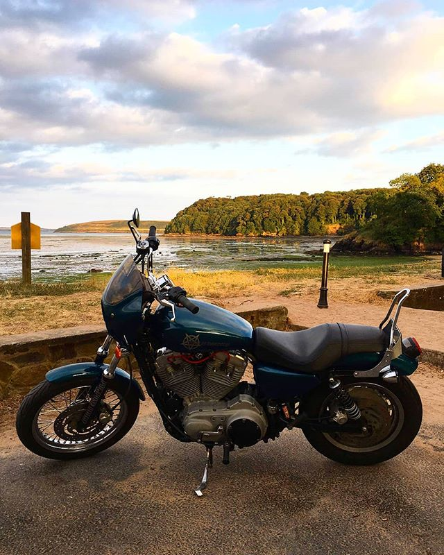 Now who doesn't love a view of a nice sunset and a good customised 883 😝 ⠀  @vtwinsandvinyl just keeps making this Sportster better and better ⠀  It's currently in pieces getting the chrome sprayed so tell her how badass it is and cheer her up 😝