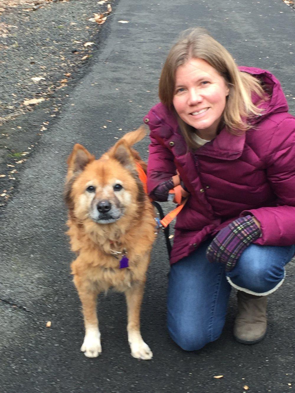 Wearing my favorite winter coat while walking a St. Hubert's dog, Kaylla.