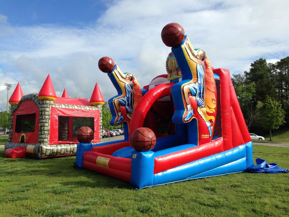 inflatable castle and basketball